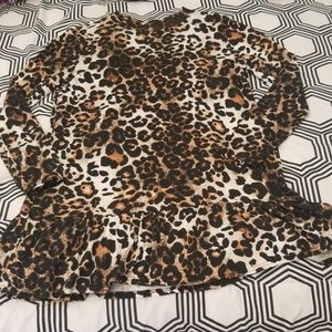 Boohoo Leopard print Ruffle hem mini dress